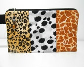 Animal Print Wristlet with Beaded Zipper Pull