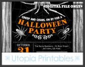 Halloween Party Invitation Adult Spiders Creep and Crawl On By Bugs Insects Theme Spiderweb Web Black Orange White Printable Digital Custom