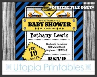 Blue Construction Baby Shower Invitation New Baby Party Under Construction Theme Cute Dump Truck Boy Digital Printable Customized 5x7 Black