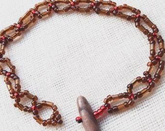 Brown beaded bracelet, bugle beaded bracelet, handmade bracelet, handmade jewellery