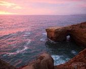 Fine Art Photograph, Sunset Cliffs, San Diego, California, Cove, Beach Art, Pacific Ocean, Sunset, Pink, Purple, Sea, Resort Art, Print
