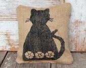 Ms. Kitty Cat -  Burlap Feed Sack Doorstop - Cat Door stop