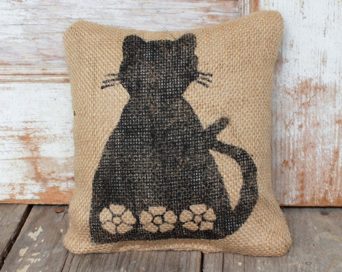 Ms. Kitty Cat -  Burlap Feed Sack Doorstop - Cat Door stop