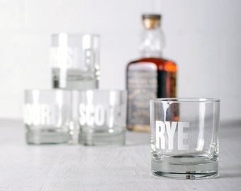 SALE Rye - hand printed rocks glass white typography
