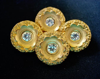 Four Pretty Vintage Rhinestone Flower Designed Metalized Plastic Buttons