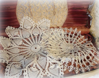 dynamic duo 2 vintage crochet doilies . crocheted by hand off white cotton doily