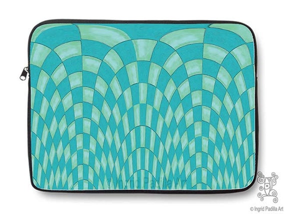 Wild Checks, turquoise, Artsy, Neoprene, Laptop Sleeve, Macbook case, Laptop case, Laptop Cover, Ingrid Padilla, Abstract Art
