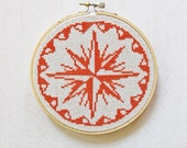 COMPASS ROSE - pdf cross-stitch pattern, x-stitch, sailor compass, naval design, nautical theme, modern cross-stitch, map, cozyblue on etsy