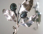 Danecraft Sterling Silver Flower & Leaf Pin Brooch Hematite Stones