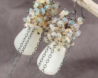 Moonstone & Opal Cluster Dangle Earrings