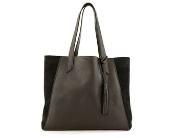June Tote- Black Leather