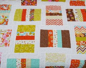 Baby girl modern cot crib quilt flowers garden hummingbirds brown aqua orange with Gina Martin Wrens and Friends Moda fabric