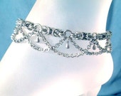 Steel Anklet Chains Byzantine Weave Silver Stainless Steel Chainmaille +Add Birthstone in Swarovski Crystals Boho Gypsy Peasant Belly Dancer