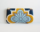 Zipper Clutch Purse Pouch Pressed Flowers in Teal Anna Maria Horner Drawing Room