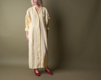 CALVIN KLEIN yellow linen shirt dress / pastel dress / maxi shirt dress / m / 1427d