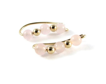 Rose Quartz Ear Climbers Made to order Jewelry Clip Earrings