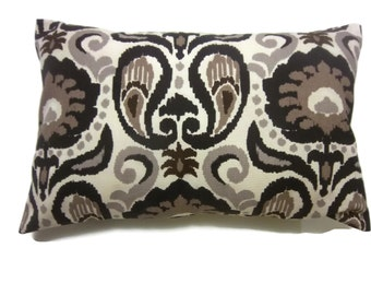 Decorative Pillow Cover Lumbar Ikat Design Shades of Brown Taupe Cream Same Fabric Front/Back Toss Throw Accent 12x18 inch x