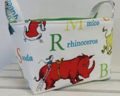 Storage and Organization - Fabric Organizer Container Bin Basket Bag - Made with Licensed Dr. Seuss Fabric - Adventure Alphabet Characters