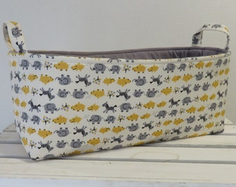 Long Diaper Caddy - Storage Container Basket Fabric Organizer Bin - Kawaii Animals - Yellow and Gray