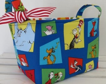 Storage and Organization - Fabric Organizer Container Bin Basket Bag- Made with Licensed Dr. Seuss Cat in the Hat Multi-Color Squares Fabric