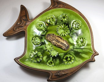 SJK Vintage -- Treasure Craft USA Porcelain Souvenir Sea World Fish Dish with Green Glaze (1970's)