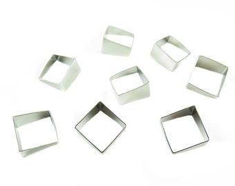Rhodium Plated Tapered Square Tube Charms (6x) (K109-B)