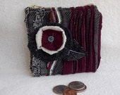 Floral Zipper Coin Bag Zippy Pouch Handcrafted Handmade Small Earthy