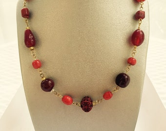 Shades of Red Long Necklace