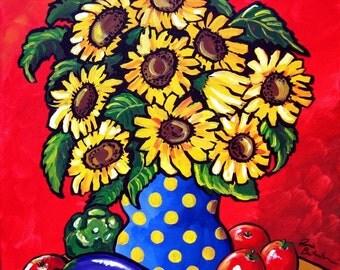 Sunflowers Tomatoes Eggplant Whimsical Colorful Still Life Folk Art Giclee Print