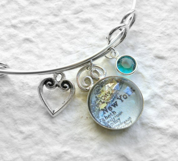 new york city map charm bracelet adjustable bangle choose