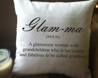 glam-ma, glamma, glamorous grandma throw pillow cover, pregnancy announcement gift for grandparents