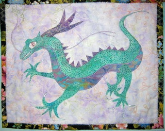 Dragon-wall hanging-batik-Teal and Purple Batik Beaded Batik Dragon Wall Hanging
