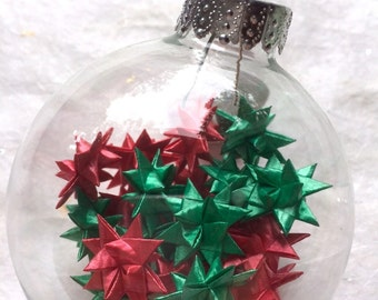 star filled ornament -red & green