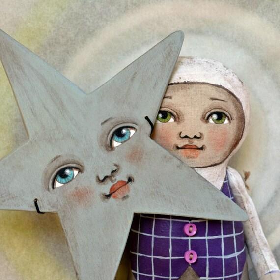 Star Mask Anthropomorphic Hand-Painted Original Folk Art Cloth Doll OOAK