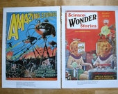 two wonderful science fiction reproduction magazine covers from the 1920's-great framed