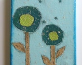"""deep teal and green lollipop flowers with mica flakes folk art collage on 5"""" x 7"""" canvas, ready to hang"""