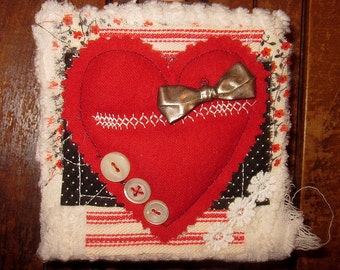 Heart Canvas Block...fabric and paper collage...Seed of love