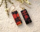 Geometric Red Black Earrings, Dangle Contemporary Earrings, Glass Earrings, Dichroic Glass Jewelry, Gold Filled Earrings, Mod   082315e107