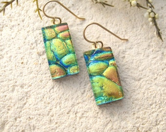 Dichroic Glass Earrings, Green Earrings, Dangle Earrings, Aqua Green Gold Earrings, Fused Glass Jewelry, Gold Filled Earrings  082315e111