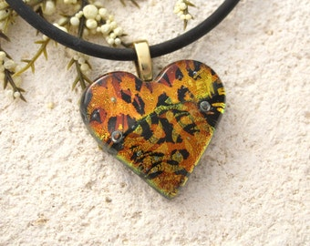 Glass Jewelry, Golden Copper Heart Necklace, Dichroic Jewelry,  Necklace Included, Heart Pendant, Fused Glass Jewelry, Gold Chain,090215p116