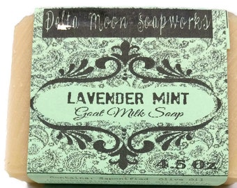All Natural Lavender Mint Goat Milk Soap, soap for sensitive skin, cocoa butter soap, cold process method, facial soap, shaving soap
