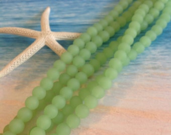 4mm sea glass-beach glass beads-green frosted glass-Seafoam tumbled bead-cultured glass-sand glass-sea theme-beading jewelry supplies