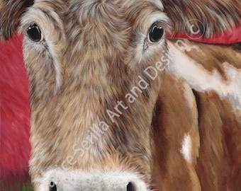 Artwork print Hey Now Brown Cow