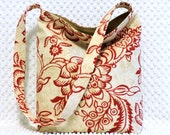 Jacobean Floral Shoulder Bag - Ladies Handmade Handbag - Red and Moss Tan Bag - Hobo Bag Purse - Handmade Gift - BizzieLizzieHandmade Bags
