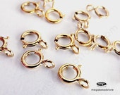 20 pcs 5mm Spring Clasps 14K Gold Filled Findings Open Ring F286GF