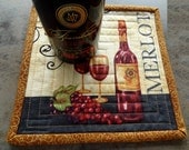 Wine A Little Quilted Mug Rugs - Set of 2