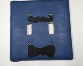 Double Blue Light Switch Cover with Mustache and Bow Tie