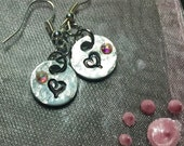 Tiny stamped heart earrings