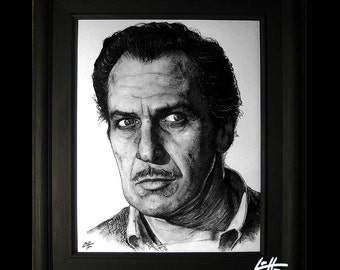 Vincent Price - Original Drawing - Dark Art Haunted The Raven Mustache Horror Fantasy The Inventor Edward Scissorhands Pop Art Lowbrow Art
