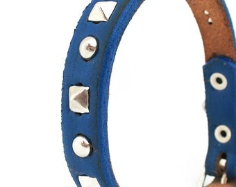 Rustic Royal Blue Leather Dog Collar with Silver Studs, Size XS/S, to fit a 8-11in Neck, Handmade in Seattle, OOAK